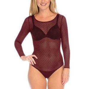 Spanx Sheer Fashion Flocked Dot Thong Bodysuit Red